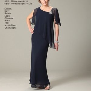 Full length gown, charcoal color